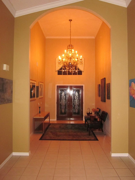 Front entry hall at night