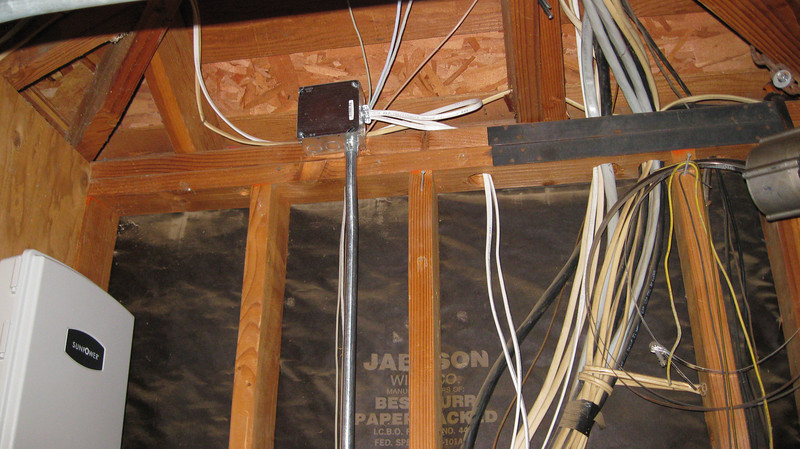 Junction Box tying everything together. Still need to staple the Romex.