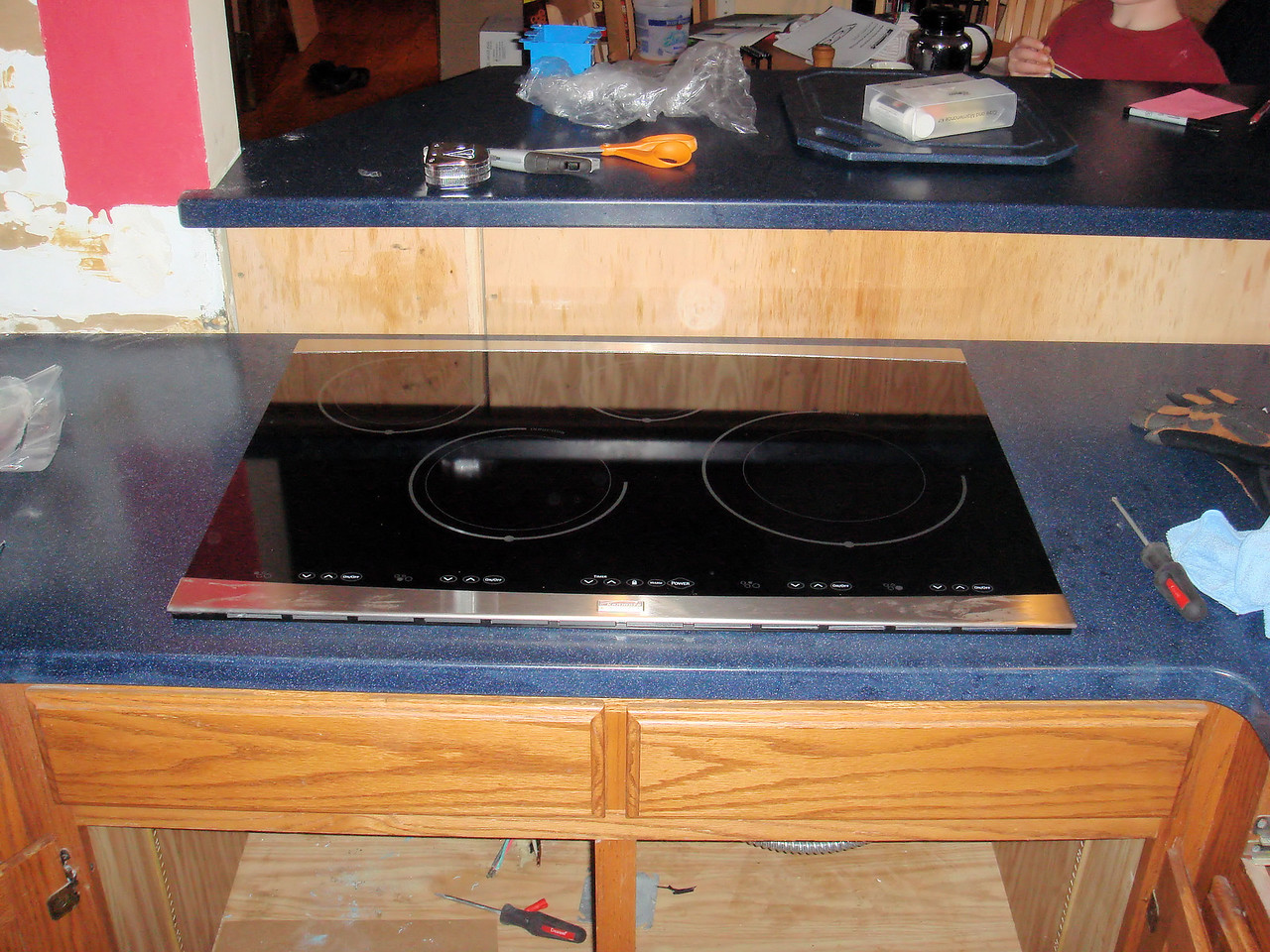 The new stove in the new counter top