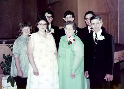 Paul and Valerie Hornbaker, Patricia Hornbaker, Lowell Hornbaker, Larry Hornbaker, and Alice and Roger Hornbaker. 30th Anniversary 1983