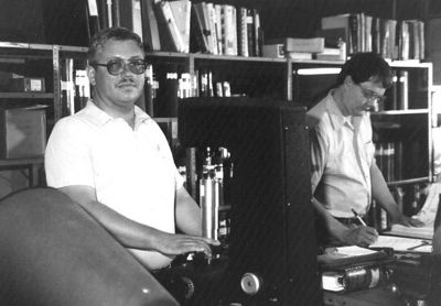 Larry Hornbaker and Bill King at Unirex, circa 1985