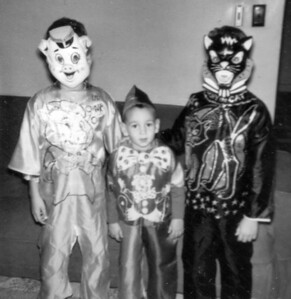 Larry, Paul and Lowell Hornbaker dressed for Halloween, circa 1963