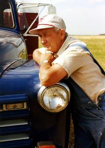 Roger Hornbaker at Wheat Harvest time 1993