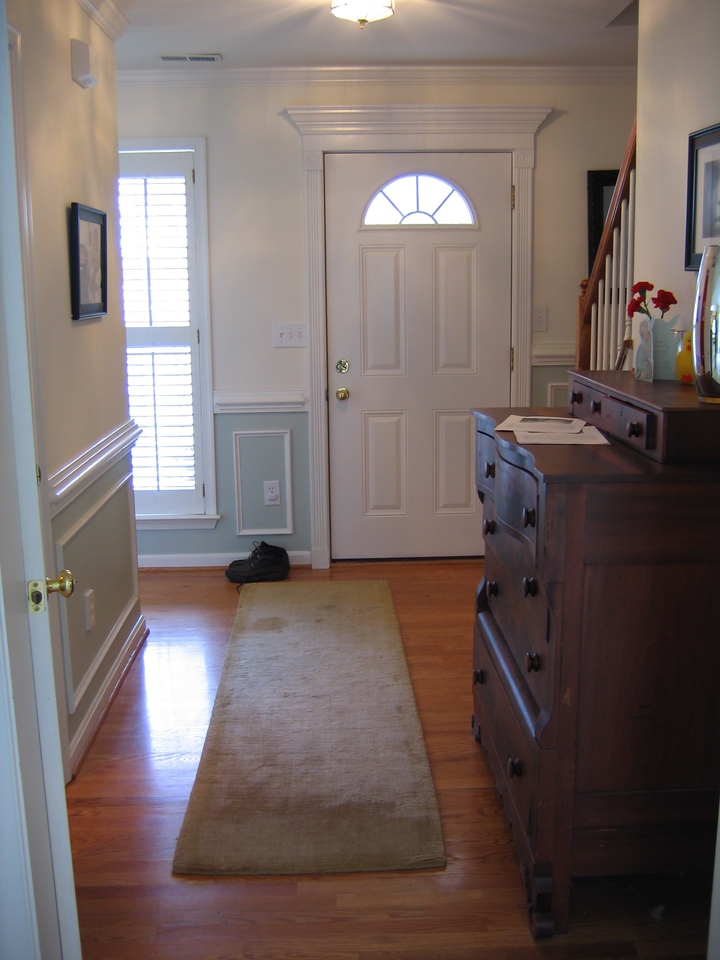 The view of the entryway from the dining area.  Note how much light is in the front of the house.