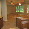 Kitchen with family room in back.
