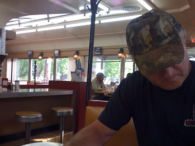 Breakfast at the old Columbia Diner, Hudson, New York
