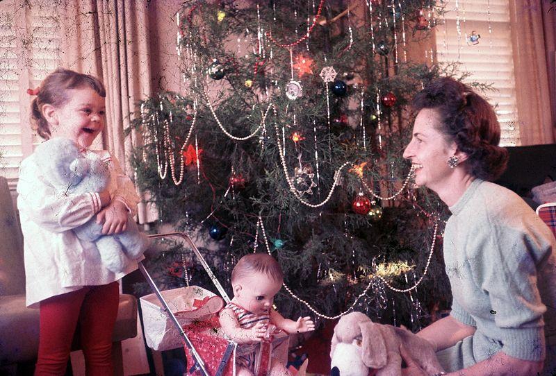 Barbara & Pat Huff, Christmas 1955, Swansboro NC