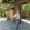 Dad takes a moment before entering the Zen dry garden.
