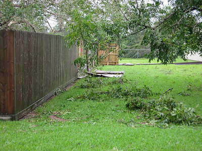 Damaged portions of my brothers fence.