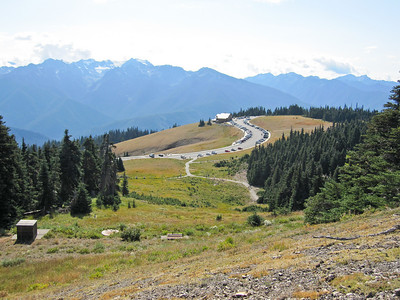View of Hurricane Ridge visitor center from sunrise point trail.