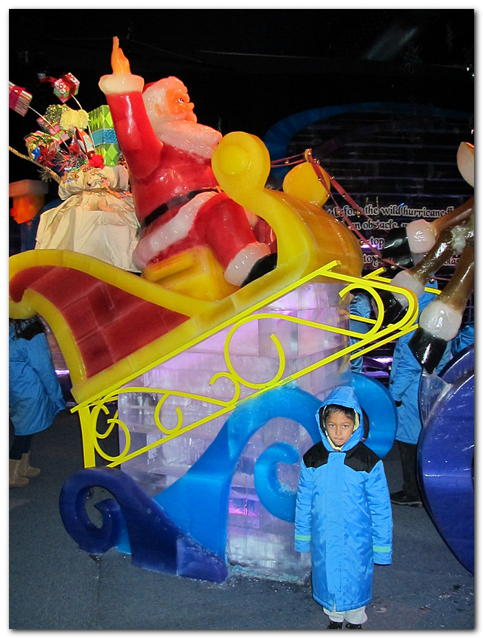 Santa's sleigh. ISO 800. Yes, everything you see is solid ice.