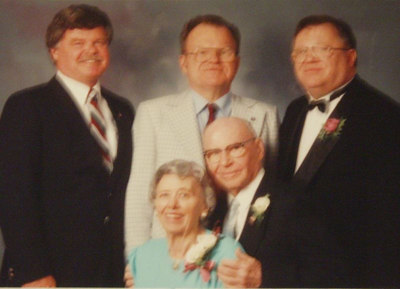 1991: At oldest granddaughter Michelle's wedding, with sons Jim, Dave, Mike and wife Eleanor.