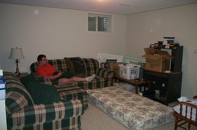 Ian has no bedroom yet...LOL...so he's camped out in the downstairs family room