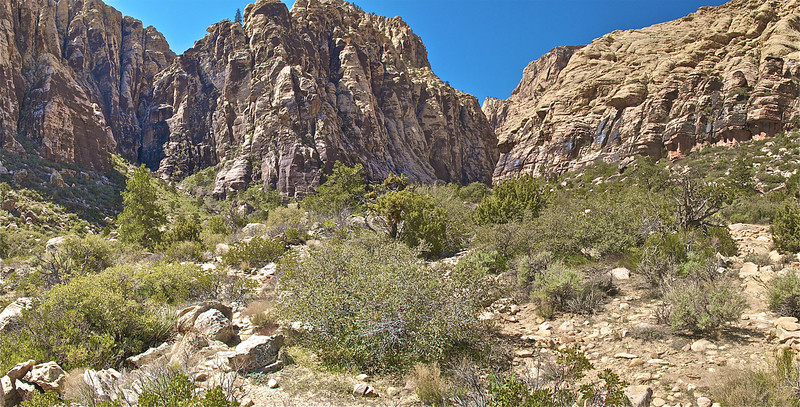 Entrance to Ice Box Canyon right of center.