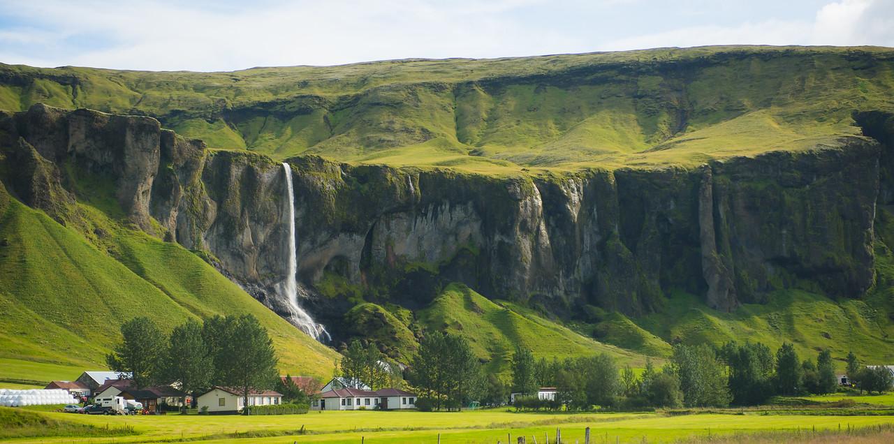 Farm and waterfall