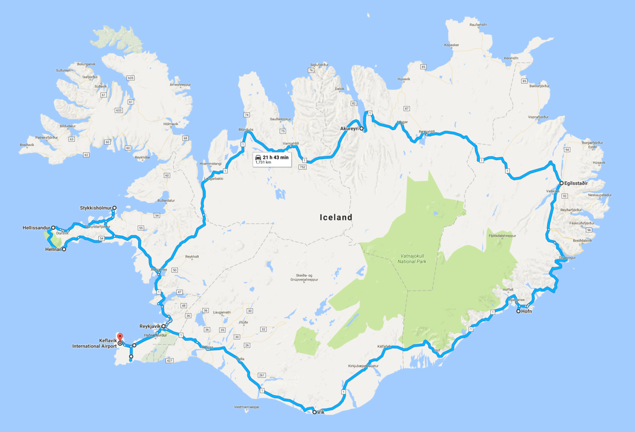 "The map! 2300 km in 11 days..Iceland's ""Ring Road"""