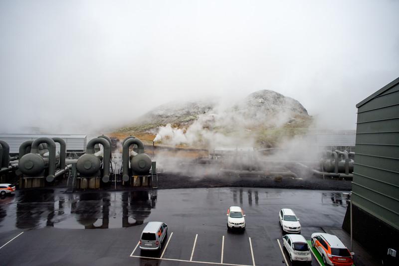Steam venting behind Hellisheidi Power Station.