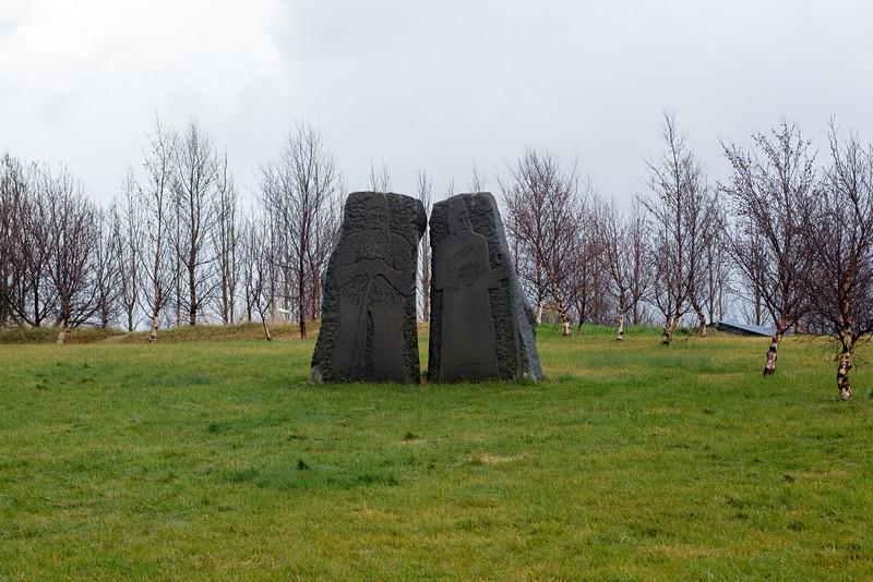Stone sculptures next to Skálholt Cathedral.
