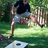 Mike showing off his Cornhole Skills