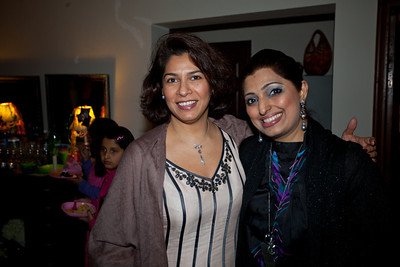 Saadia and Sonia, who was distracted bya crashing sound behind her.