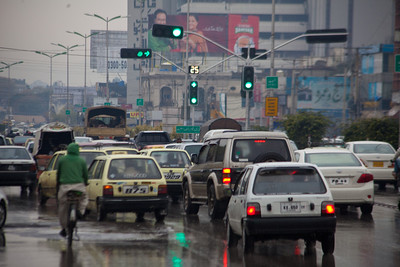 Traffic on a wet day in Rawalpindi.