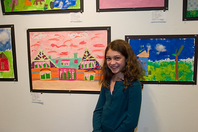 Anisa painted one of the buildings in her school at sunset.  She was one of two fifth graders to have their work displayed.  Last year she also had a display but we didn't figure it out in time!