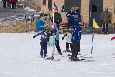 Anisa and Annie went skiing at Blue Mountain.  Here they are in a beginner class going with one ski.