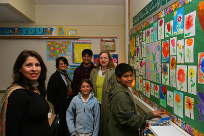 All of us in Anisa's classroom where she is showing us the flowers that she drew.  Saadia's best friend Sabiha came from San Diego.  Her son, Imad, who also usually comes had to stay home this time and we really missed him.
