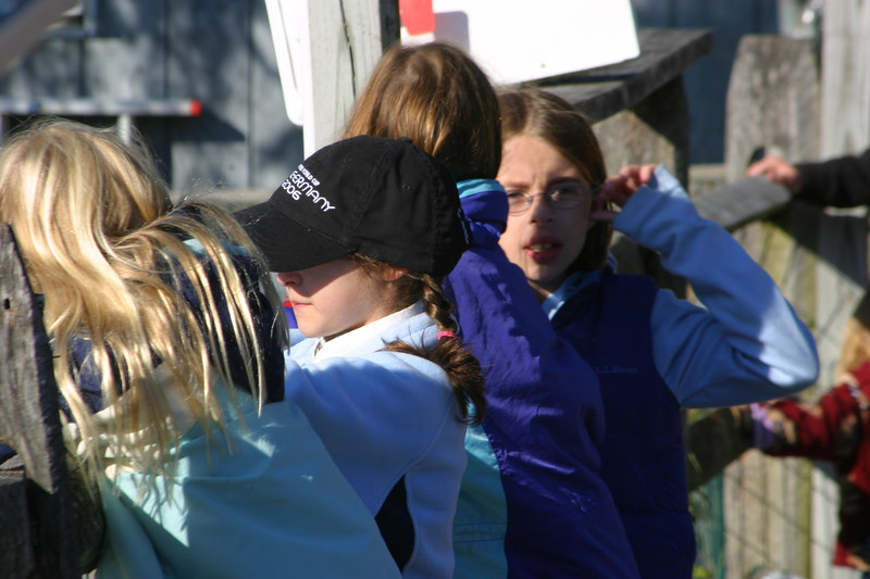 Annie, Anisa, Sydney and Nina watching the riders.