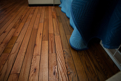 You can see the old floor and the new floor where the color changes.  On the left is the new stain which is lighter and better matches the deck.