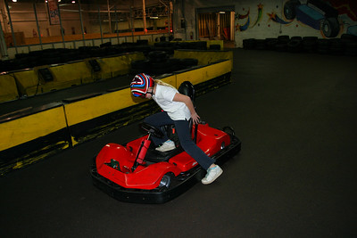 The girls take their turn on the smaller track.  Annie getting into the go kart.