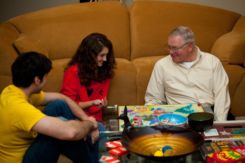 Anisa plays at World Domination with her Grandad and Jeff.  This was her first time.
