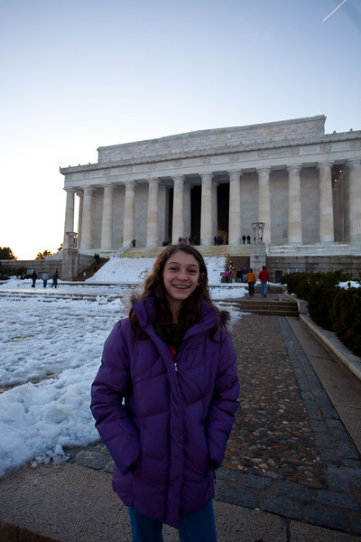 In front of Lincoln Memorial.