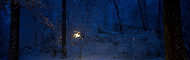 A night shot of our neighbours house.