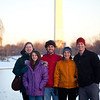 In front of Washinton's Monument as the sun sets.