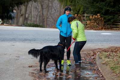 The girls in their Eddie Bauer down jackets try to slide on the frozen puddles.