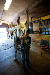 Anisa with Smokey.  He is probably the biggest horse Anisa has ridden.