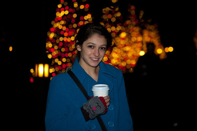 Anisa with her hot chocolate.
