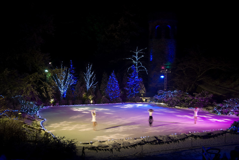 The skaters spinning away.