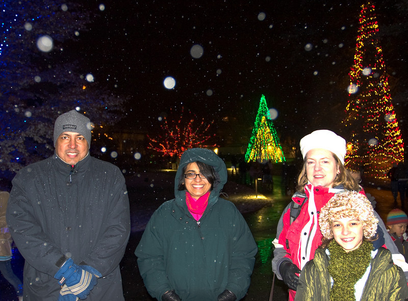Snow is falling as we try to stay warm at Longwood Gardens.