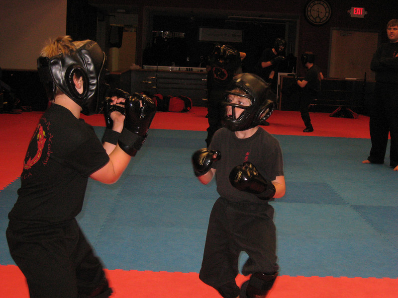Sparring practice at kung fu