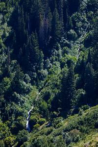 A waterfall below us.