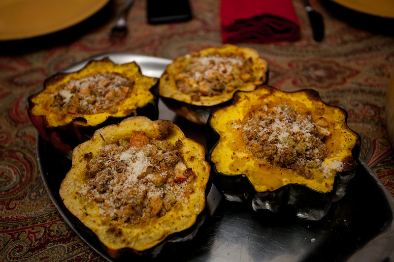 Anisa's Creation. Squash stuffed with ground turkey, Quinoa, and goat cheese .