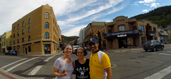 After returning the bikes we went to Park City and walked around.  It was very pleasant and one of our favorite places.  That is Main Street right behind us with lots of restaurants and art galleries.