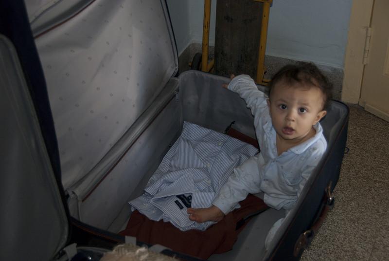 Aarav in a suitcase