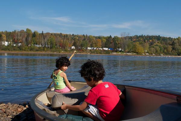 Cyane and Jaden test the canoe