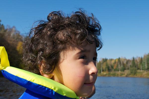 Jaden surveys the river