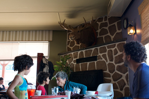 Every great adventure Canadian needs a moose.  Lunch with Grandma before our canoe/kayak trip.