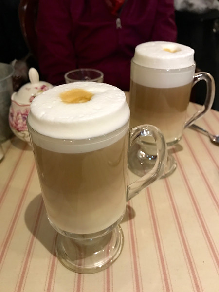 Lovely lattes at a little breakfast cafe next to our hotel in Cork.