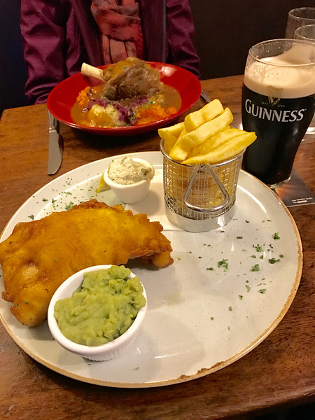 Fish and chips w/mashed peas and lamb shank for m'lady.